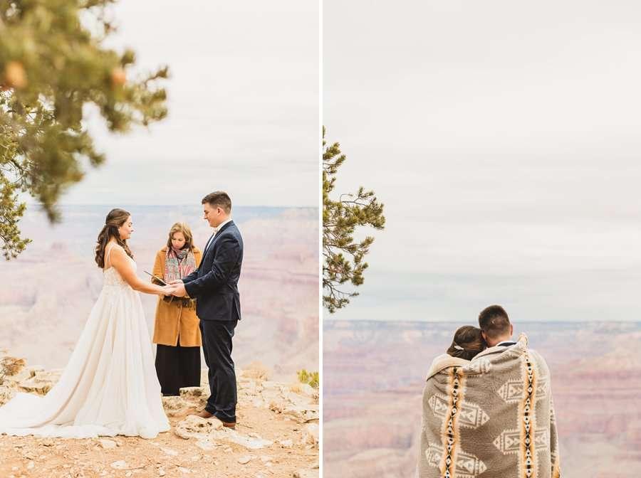 GC National Park Wedding: Ashlynn and Jacob blanket wrap ceremony