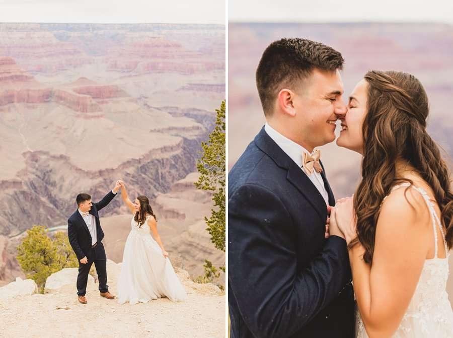 GC National Park Wedding: Ashlynn and Jacob dancing on the edge