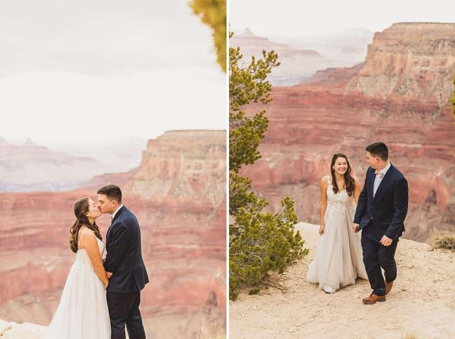 GC National Park Wedding: Ashlynn and Jacob kisses