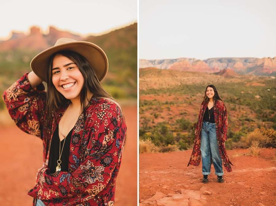 Grace: Sedona Portrait Photographers AZ poses with hats