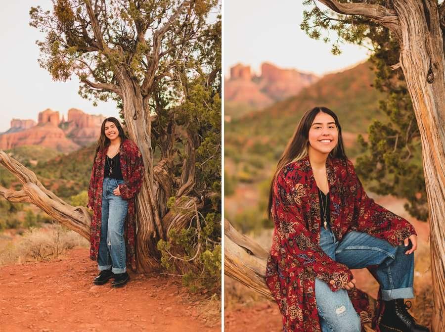 Grace: Sedona Portrait Photographers AZ posing with tree