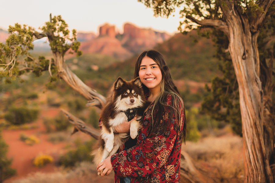 Grace: Sedona Portrait Photographers AZ dog snuggles