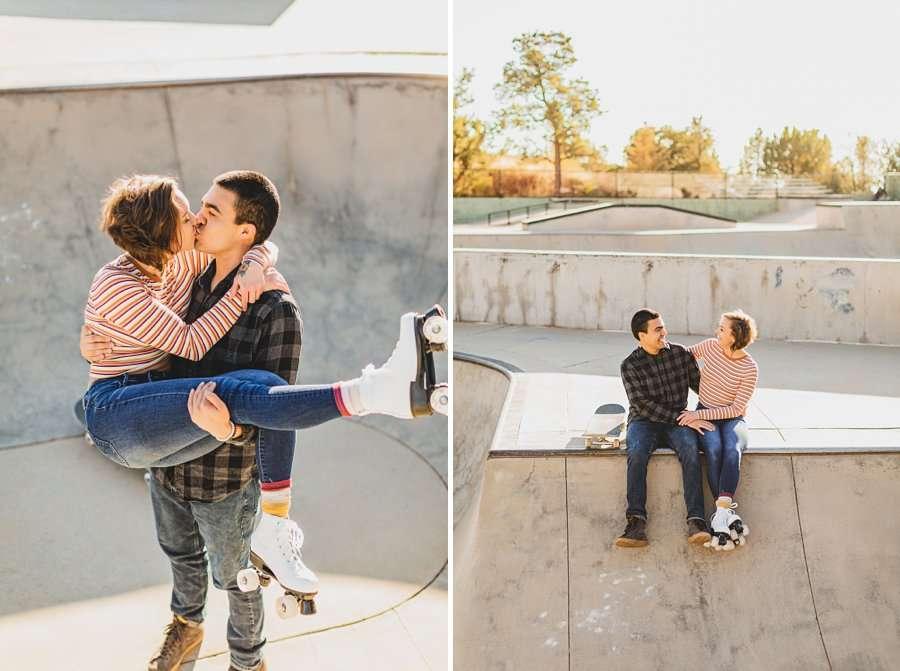 Katie and Adam: Sedona Couples Photographer rollerskates