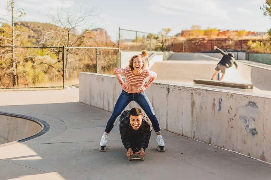 Katie and Adam: Sedona Couples Photographer sedona skatepark