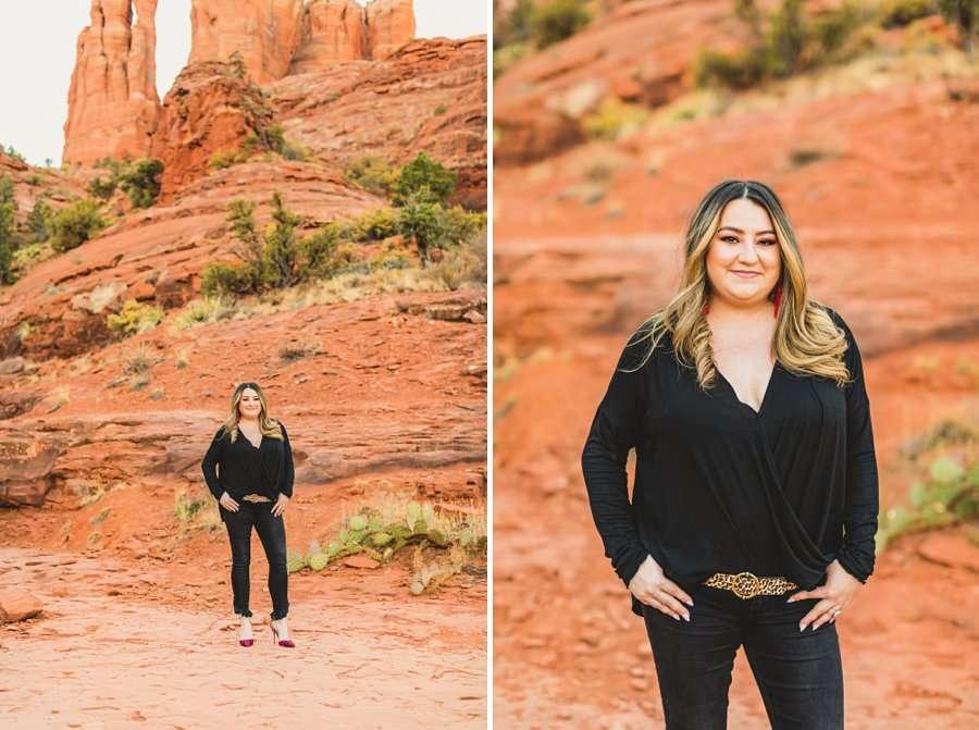 Samantha and Kevin: Cathedral Rock Sedona Engagement brides view