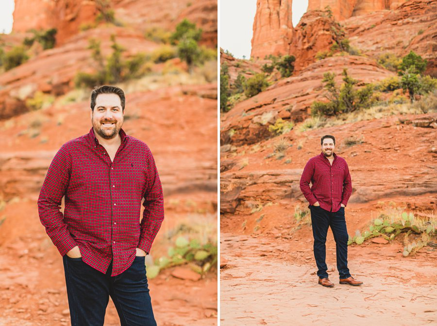 Samantha and Kevin: Cathedral Rock Sedona Engagement grooms view