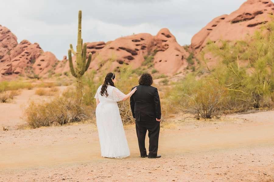 Shawna and Jason: Desert Botanical Garden Elopement the first look