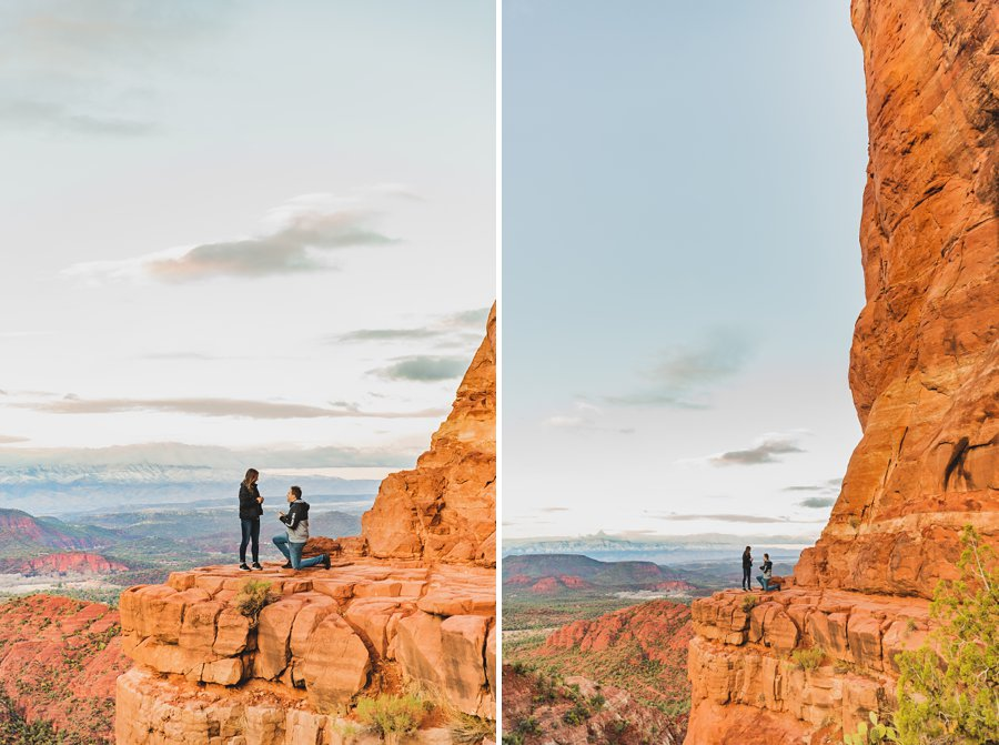 Kimber and Robb: Cathedral Rock Sedona Proposal down on one knee