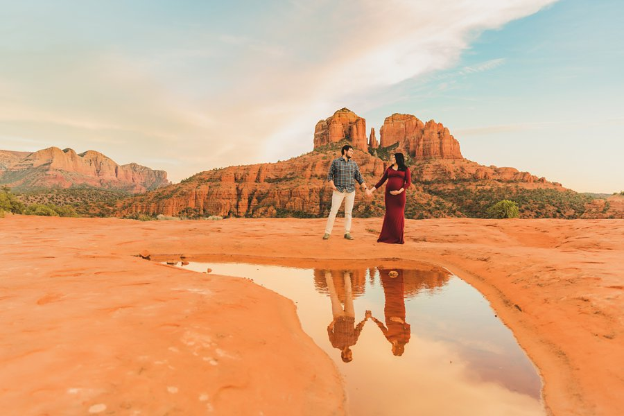 Stephanie and Mike: Cathedral Rock Maternity Photographer sedona sunset