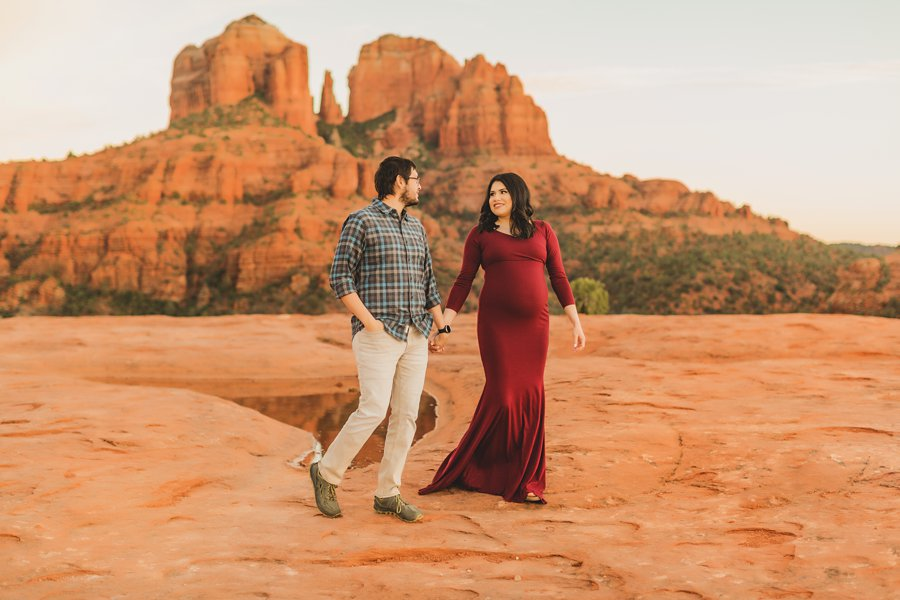Stephanie and Mike: Cathedral Rock Maternity Photographer walking together