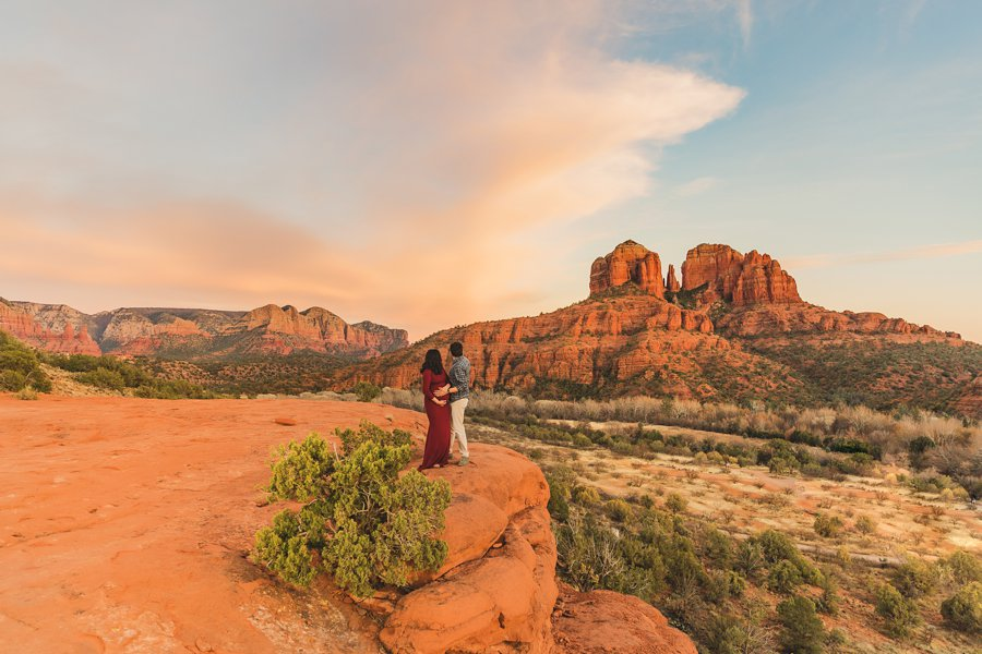 Stephanie and Mike: Sedona Arizona Family Photography looking out togehter