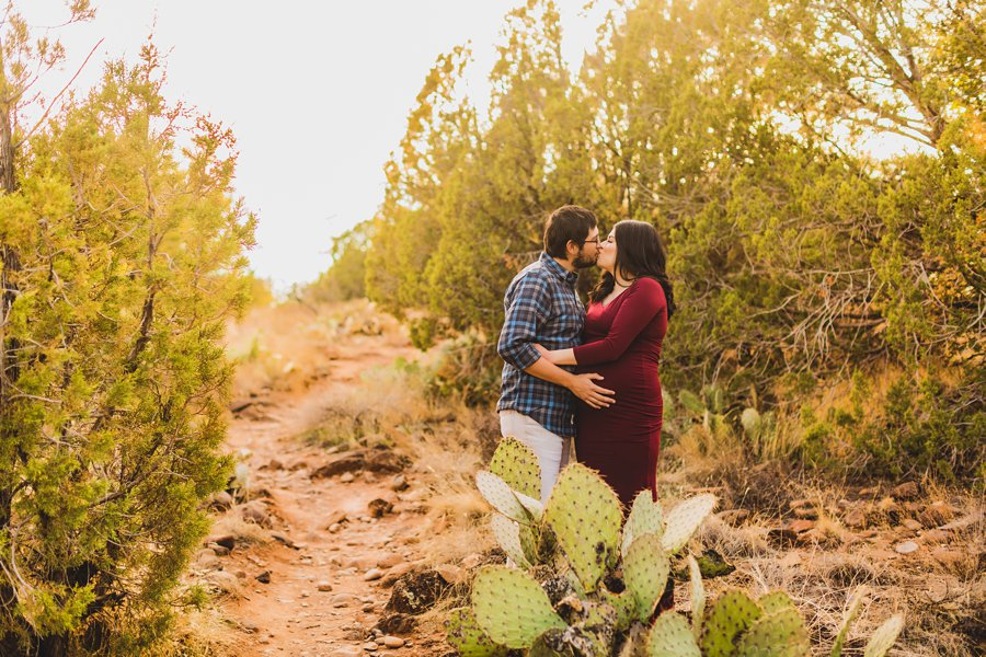 Stephanie and Mike: Cathedral Rock Maternity Photographer lots of love