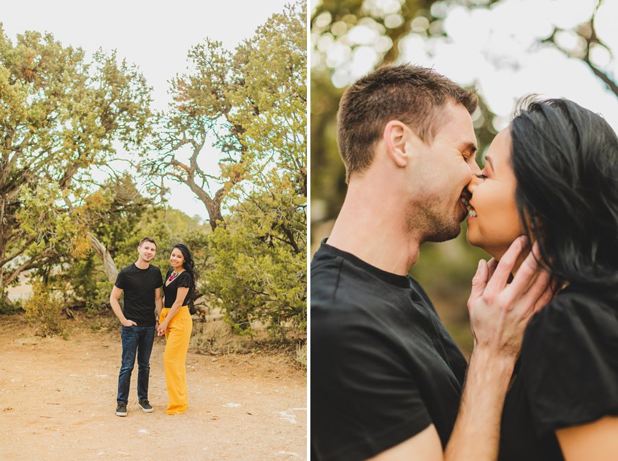 Cristina and Cody: Engagement Photographer Grand Canyon intimate kisses
