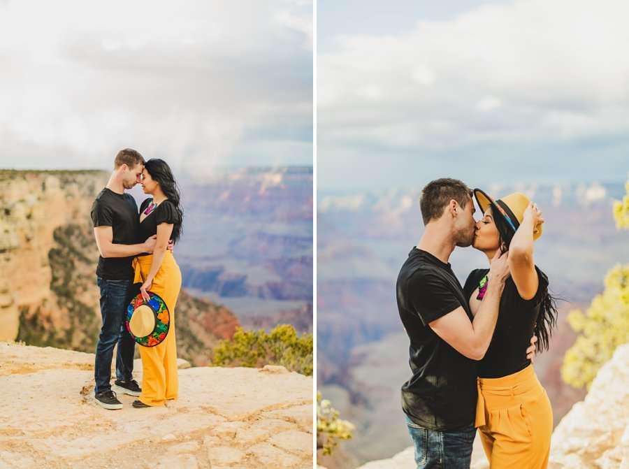 Cristina and Cody: Portrait Photography Northern Arizona holding hat and kisses